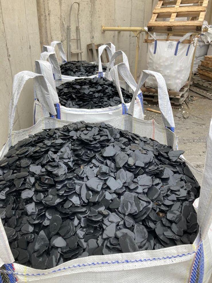 Big bag of 1.000 kg of Rounded Crushed Slate Canteras el Cerro Garden Accessories & decoration Slate Black