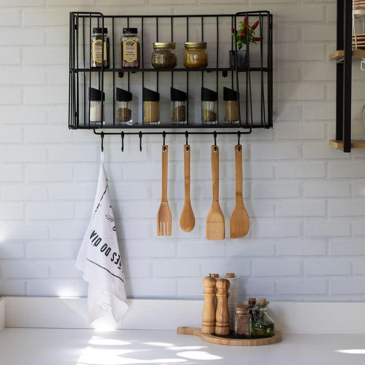 Prateleira Multiuso perfeito para Cozinha Aramado.com Armários e bancadas de cozinha Ferro/Aço Preto