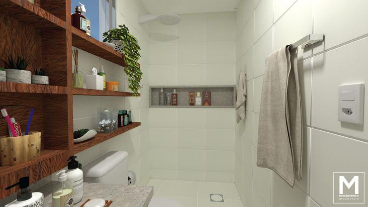 Nicho embutido Mostavenco Arquitetura Banheiros ecléticos Azulejo Branco