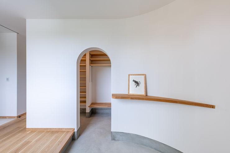 猫と暮らす中庭のある家 - 玄関 猫と建築社 北欧スタイルの 玄関&廊下&階段 白色