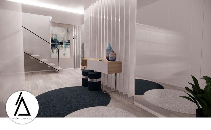 Projeto - Design de Interiores - Zona Social Moradia N Areabranca Corredores, halls e escadas modernos