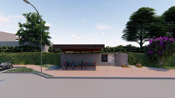 Bicicletero Interior CONCEPTUAL ESTUDIO + ARQUITECTURA SAS Garajes abiertos Piedra Gris