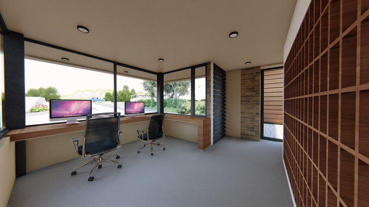 Cuarto de Control CONCEPTUAL ESTUDIO + ARQUITECTURA SAS Estudios y despachos de estilo moderno Concreto Beige