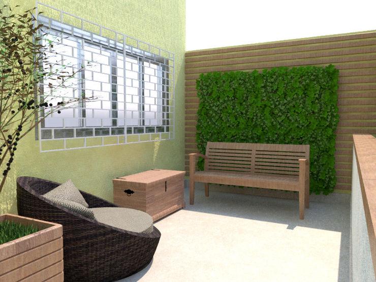 Detalhe do jardim vertical e do baú como mesa de apoio e armazenamento dos itens de jardinagem Arquitetura Pitanga Jardins de fachadas de casas Madeira Bege
