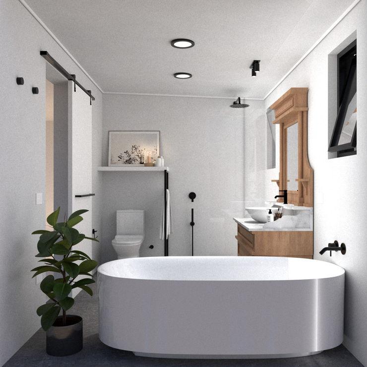 Baño LV (Remodelación) Studio Design Arquitectos Baños de estilo minimalista Madera Blanco