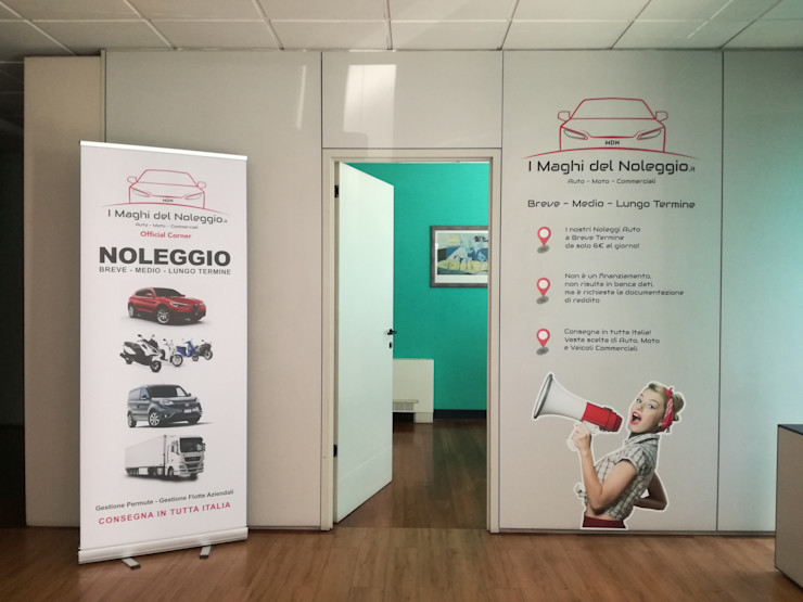 DECORAZIONE CORNER MDN CINECITTA' MONDOSTICKERS Complesso d'uffici moderni