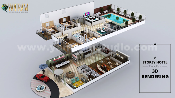 Hotel 3D Virtual Floor Plan Rendering With Beautiful Backyard Pool Landscaping by Architectural Modeling Firm, San Antonio, Texas Yantram Architectural Design Studio Corporation طبقه