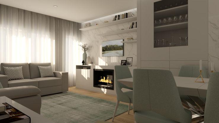 Sala de Estar_img1 homify Salas de estar modernas Mármore Branco