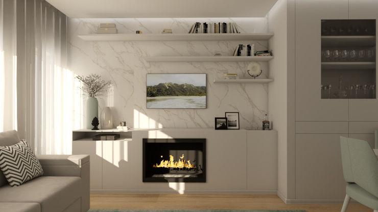 Sala de Estar_img2 homify Salas de estar modernas Mármore Branco