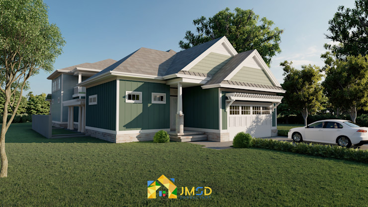 Photorealistic Exterior Rendering for Home JMSD Consultant - 3D Architectural Visualization Studio Modern Houses Bricks Green