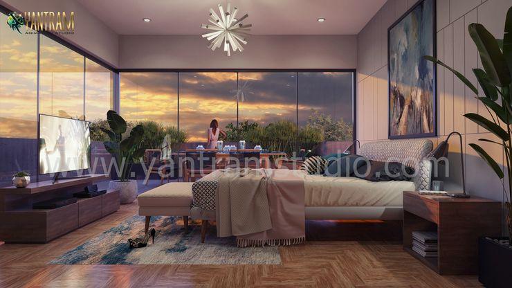 Luxurious Bedroom Visualization by Yantram Interior Design firm, Detroit - Michigan Yantram Architectural Design Studio Corporation