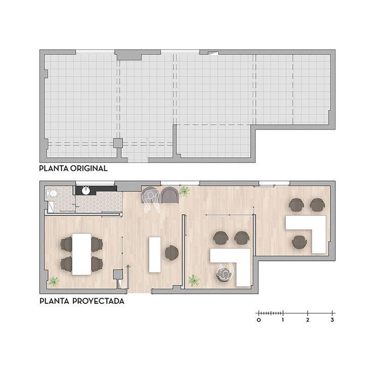 Oficina Viamonte - Plantas D4-Arquitectos Estudios y oficinas modernos Madera Blanco