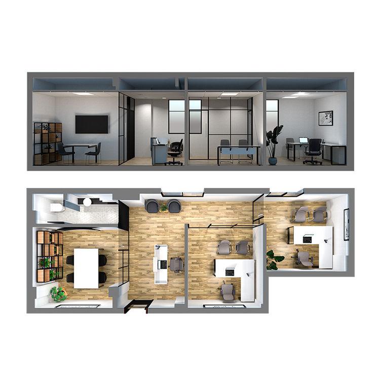 Oficina Viamonte - Renders planta y corte D4-Arquitectos Estudios y oficinas modernos Madera Blanco