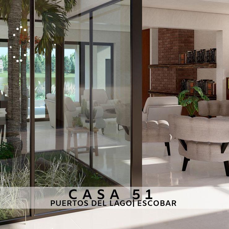 Casa 51 - Puertos del Lago, Escobar - Estar y patio interior D4-Arquitectos Livings modernos: Ideas, imágenes y decoración Madera Blanco