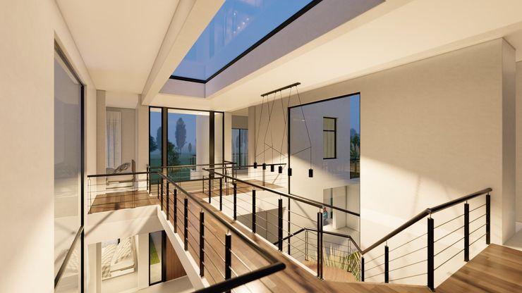 Casa 51 - Puertos del Lago, Escobar - Imagen doble altura D4-Arquitectos Pasillos, vestíbulos y escaleras modernos Madera Blanco