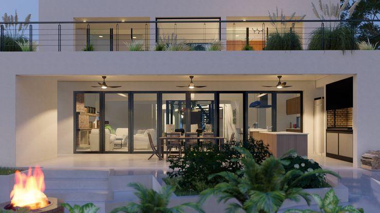 Casa 51 - Puertos del Lago, Escobar - Contrafrente D4-Arquitectos Casas unifamiliares Madera Blanco