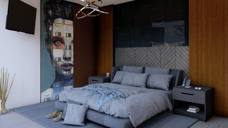 Recamara secundaria HC Arquitecto Dormitorios modernos Madera Gris