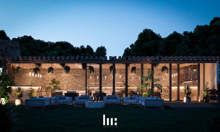 Bar, Sala, Comedor, Cocina, Fogatero HC Arquitecto Balcones y terrazas minimalistas Concreto Blanco