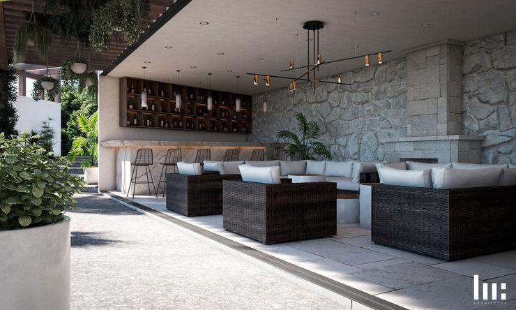 Sala & Bar HC Arquitecto Salones minimalistas Concreto Blanco