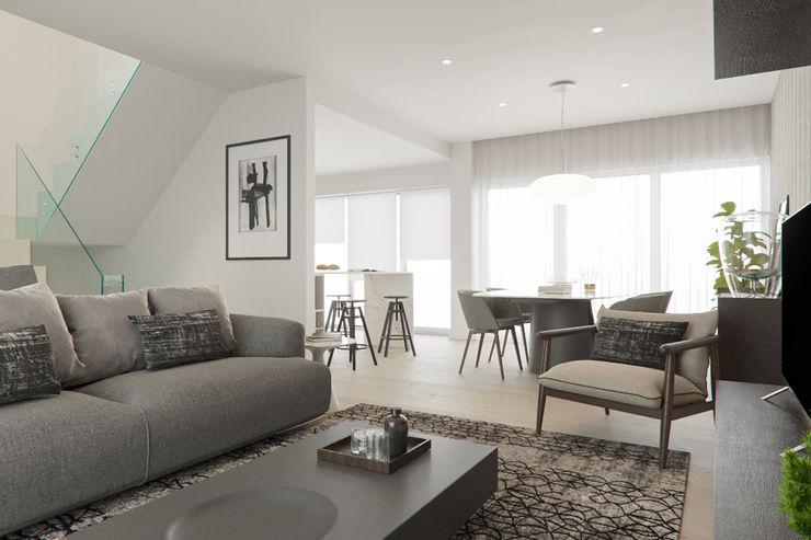 Sala de Estar Baobart Arquitetura e Design Salas de estar modernas Cinza