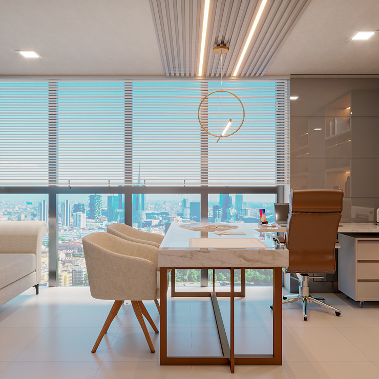 Sala de atendimento médico Cláudia Legonde Escritórios modernos