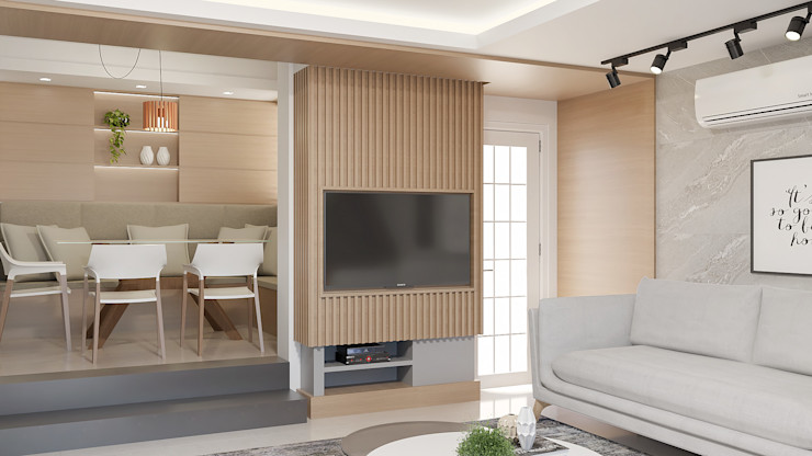 Sala de estar e Jantar Cláudia Legonde Salas de estar modernas