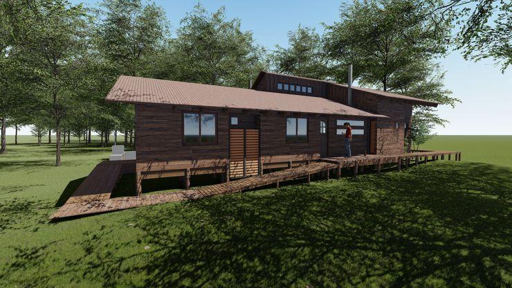Cabaña Bosques de Lircay Fachada Principal Nave + Arquitectura & Modelación Paramétrica Casas de estilo rural Acabado en madera