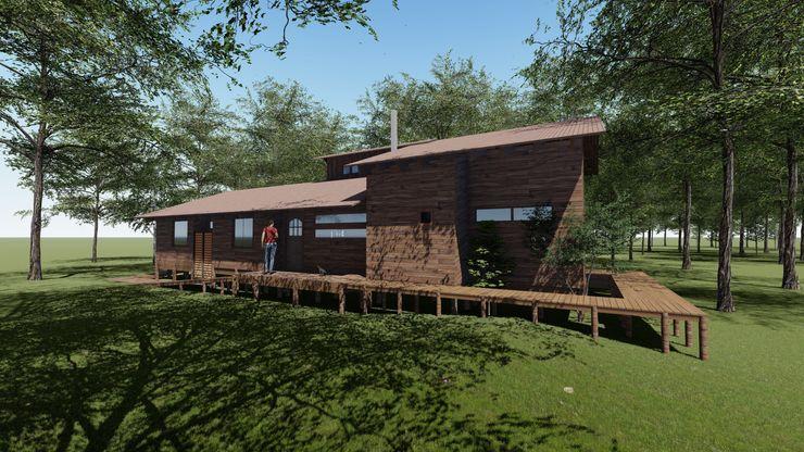 Cabaña Bosques de Lircay Fachada Principal Nave + Arquitectura & Modelación Paramétrica Cabañas Acabado en madera