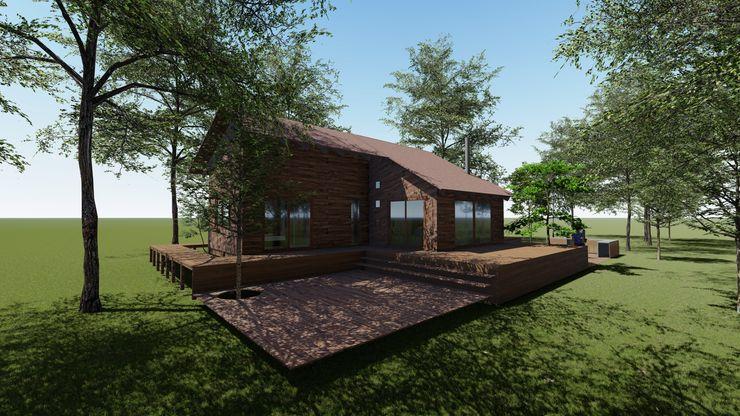 Cabaña Bosques de Lircay Fachada Posterior Nave + Arquitectura & Modelación Paramétrica Cabañas Acabado en madera