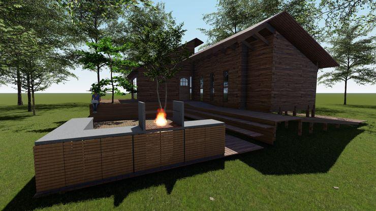 Cabaña Bosques de Lircay Sector Quincho Nave + Arquitectura & Modelación Paramétrica Casas de estilo rural Acabado en madera