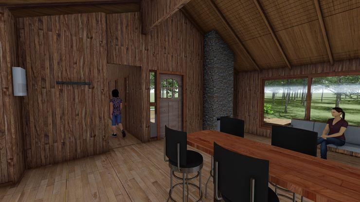 Cabaña Bosques de Lircay Cocina Americana y Estar Nave + Arquitectura & Modelación Paramétrica Cabañas Acabado en madera