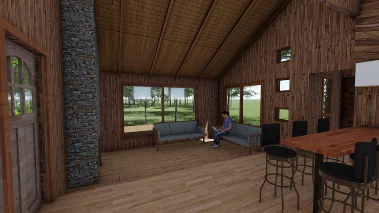 Cabaña Bosques de Lircay Estar Principal Nave + Arquitectura & Modelación Paramétrica Cabañas Acabado en madera