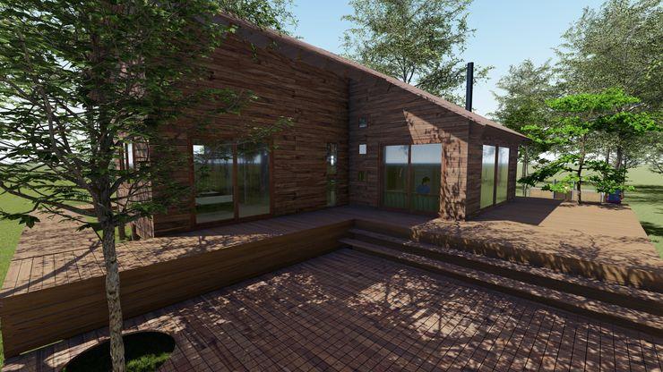 Cabaña Bosques de Lircay Sector Terrazas Nave + Arquitectura & Modelación Paramétrica Balcones y terrazas rurales Acabado en madera