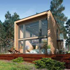 """""""KUBU"""" Vorderansicht: moderne Häuser von THULE Blockhaus GmbH"""