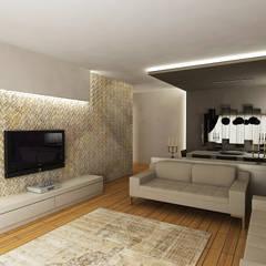 Niyazi Özçakar İç Mimarlık - E.E. EVİ: modern tarz Oturma Odası