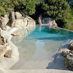 La differenza rispetto alle piscine scatolari: Piscina in stile in stile Mediterraneo di Biodesign pools