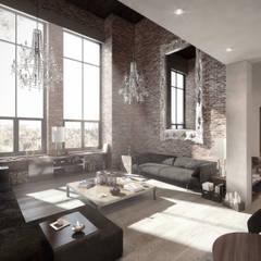 NATURAL LIGHT DESIGN STUDIO - Authentic Lofts: eklektik tarz tarz Oturma Odası
