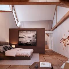 Masterbedroom im Dachgeschoss: rustikale Schlafzimmer von von Mann Architektur GmbH