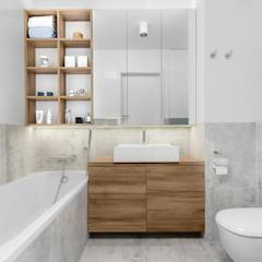 Mieszkanie MiM: styl translation missing: pl.style.Łazienka.minimalistyczny, w kategorii Łazienka zaprojektowany przez 081 architekci