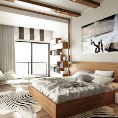 ROAS Architecture 3d Design - The Bedroom View1: modern tarz Yatak Odası