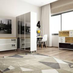 ROAS Architecture 3d Design - The Bedroom View2: modern tarz Yatak Odası