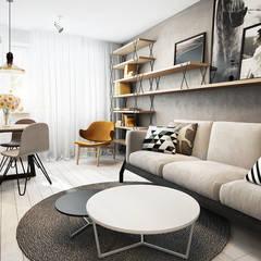 Wrocław / Maślice, mieszkanie - 43m2: styl translation missing: pl.style.salon.skandynawski, w kategorii Salon zaprojektowany przez razoo-architekci