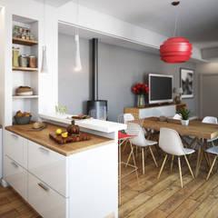 Cucina zona living: Cucina in stile in stile Moderno di BF Studio