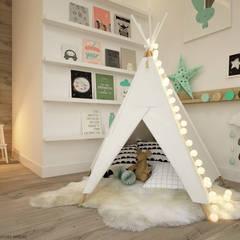 Dormitorios infantiles de estilo escandinavo por ELEMENTY - Pracownia Architektury Wnętrz