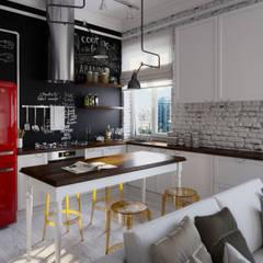 Квартира-студия в стиле лофт в центре Москвы: Кухни в translation missing: ru.style.Кухни.loft. Автор - Aiya Lisova Design