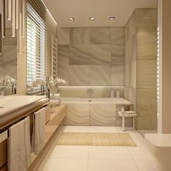 Łagodna łazienka: styl translation missing: pl.style.Łazienka.nowoczesny, w kategorii Łazienka zaprojektowany przez FAMM DESIGN