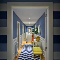Stripes: Corredores, halls e escadas modernos por Prego Sem Estopa by Ana Cordeiro