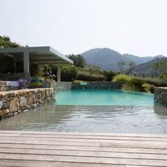 Un giardino scolpito per una proprietà privata: Piscina in stile in stile Mediterraneo di Giuseppe Lunardini Architetto del Paesaggio