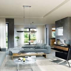 Projekt domu Magnus II G2 : styl translation missing: pl.style.salon.nowoczesny, w kategorii Salon zaprojektowany przez Pracownia Projektowa ARCHIPELAG