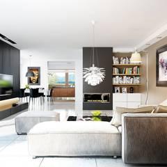 Projekt domu Liv 3 G2 | salon : styl translation missing: pl.style.salon.nowoczesny, w kategorii Salon zaprojektowany przez Pracownia Projektowa ARCHIPELAG